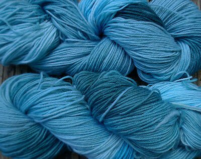 Pure wool yarn sport weight, hand dyed teal and blue,  640 yards,  7 oz.