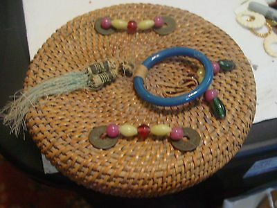 Antique Chinese Sewing Basket with Coins ,Beads and Peking Glass Ring