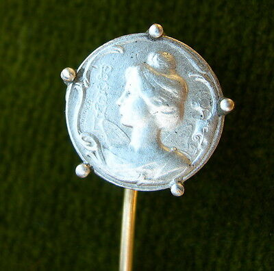ART NOUVEAU épingle fixe-cravate motif argent PORTRAIT FEMME OLD FRENCH TIE PIN