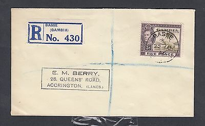 Gambia 1946 5D Rate Registered Cover Basse To Accrington Lancashire England