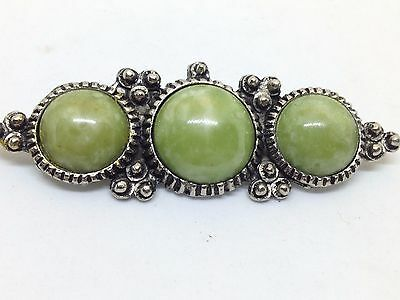 Vintage OVAL GREEN AGATE CAB TRIO BROOCH PIN Silver Tone Costume Jewelry SALE