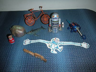 Lot of Small Vintage Toys Tin Robot-7 Tin? Bike Nesser Train Etc