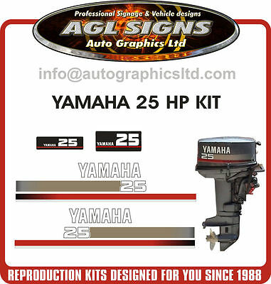 YAMAHA 25 HP  Outboard Decal Kit reproductions