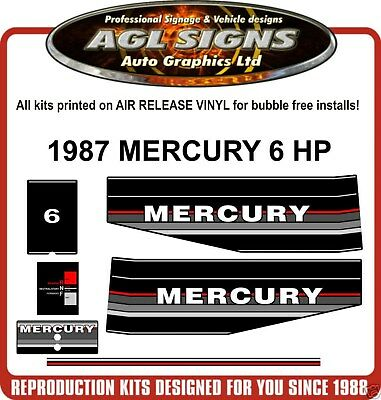 1987  MERCURY 6 HP Reproduction Outboard Decal Kit