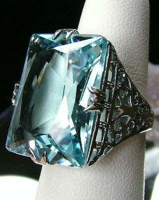 30ct *Aquamarine* Solid Sterling Silver Vintage Filigree Ring Size 8  {In Stock}