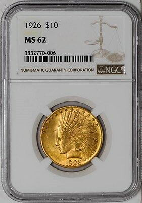 1926 $10 Gold Indian MS62 NGC