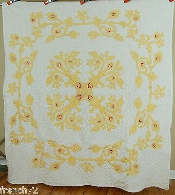 OUTSTANDING Vintage 30's Hawaiian Applique Cutout Antique Quilt ~NICE YELLOW!