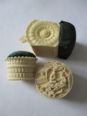 antique style sewing lot, clamp, pinbucket, Chinese carved box, green