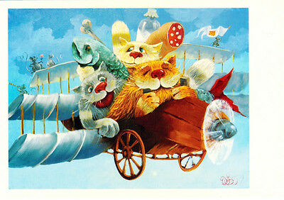 CATS WITH FOOD ON THE PLANE MICE ARE ON WINGS Modern card Russian / English