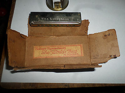 Antique M. Hohner The Echophone Harmonica With Part Of The Original Box Music