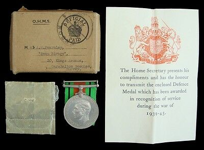 Ww2 British Defence Medal In Card Box Of Issue Mrs.a.r.fearnley