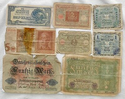 Seven Old GERMAN Notes From Early 1900's