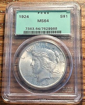 1924 Silver United States Peace $1 Dollar Coin PCGS Mint State 64 *OGH