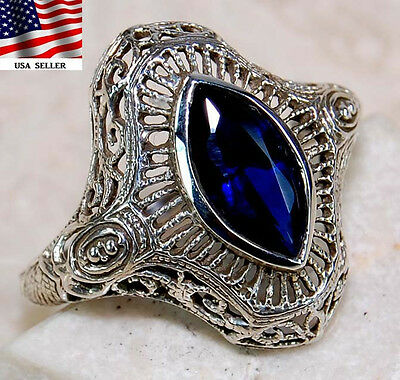 1CT Sapphire 925 Sterling Silver Victorian Style Ring Jewelry Sz 8, F5-3