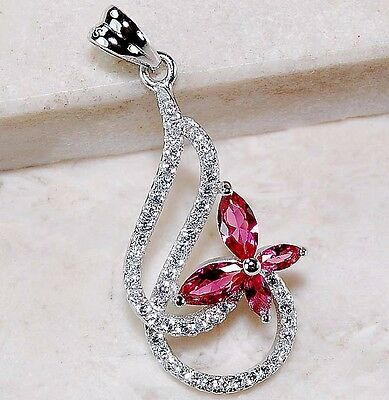 1CT Ruby & White Topaz 925 Solid Genuine Sterling Silver Pendant Jewelry, T2-7