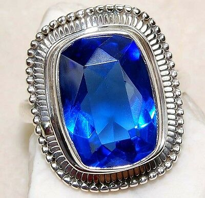 6CT Sapphire 925 Solid Genuine Sterling Silver Ring Jewelry Sz 6.25, S5-1