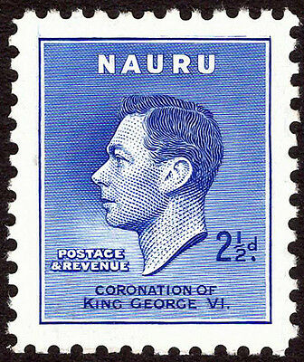 "KGVI: Nauru ""Re-entry"" on 2/12d blue (S/G46a) Coronation Omnibus Set - UMM."