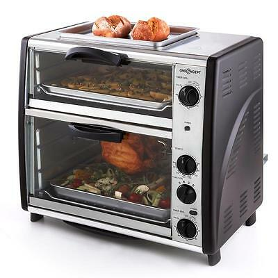 Oneconcept All-You-Can-Eat Double Oven With Grill 42-Litre 2 Baking Chambers