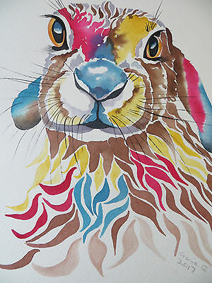 ORIGINAL Watercolour Hare Painting.  by Gina E. Not A Print.