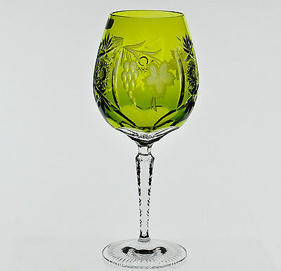 Nachtmann Traube Lime Perdot Green Cut to Clear Crystal Wine Balloon New Signed