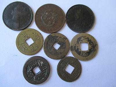 Small Collection Of 8 X  Old Chinese Coins