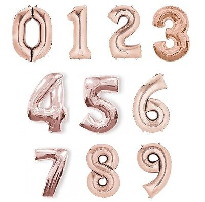 """NUMBER Foil Balloons (34"""") ROSE GOLD Helium Quality {Unique}"""