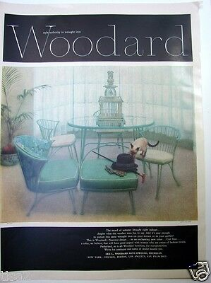 1957 WOODARD Wrought Iron PINECREST Ciel Blue FURNITURE Vintage PHOTO PRINT Ad