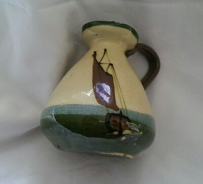 Small Antique Torquay Motto Ware Jug In Boats Design