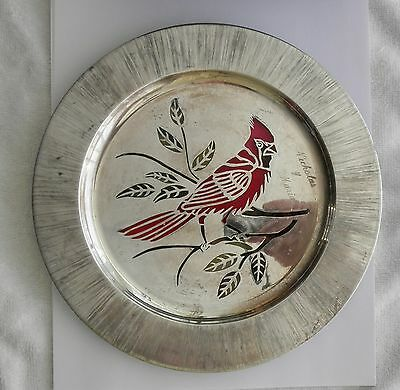 Sterling Silver Reticulated Cardinal Art Plate~~Mexico~~Richmondena Cardinales