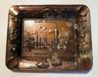Small Metal Tray Souvenir HUNTSVILLE Alabama Space Center Rockets & Missles 1970