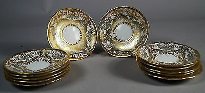 12 Saucers Gilt Floral Rococo Design by John Aynsley from 1939 Pattern 8405