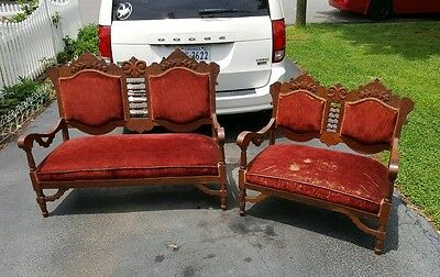 Victorian Eastlake Parlor Set Settee and smaller sofa 2 pieces