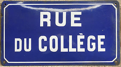 Old French enamel steel street sign road plaque name Rue du College Mazamet