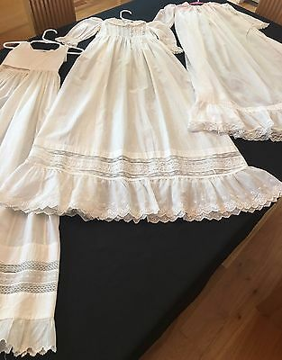 Vintage Lot Christening Dress Slip Gown 1800s