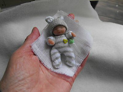 OOAK   miniature  6 cm jointed  polymer clay baby doll dollshouse  by Carol