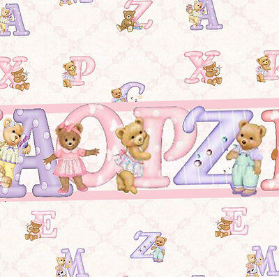 3 sheets of Dolls House Wallpaper 1/12th scale Pink Nursery Quality Paper #132