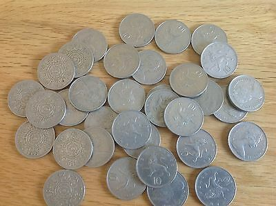Large Selection of old 10p coins and 2 shilling coins
