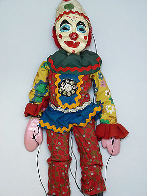 Vintage Handmade Clown String Puppet Marionette by Fred Tickner