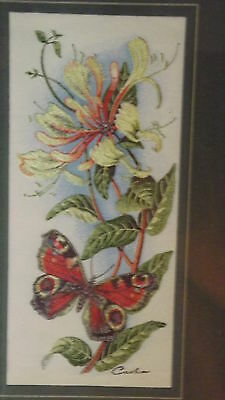 2  Vintage 'cash' Woven Wall Hanging  Framed -Peacock Butterfly (Wonderful)