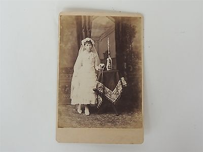 Antique Photo Photograph Victorian rosary candle girl communion religious dress