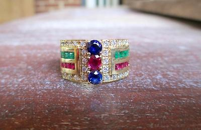 13.9 Gram Solid 18 Kt Yellow Gold Diamond, Sapphire, Emerald, Ruby Ring Size 9