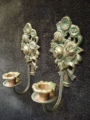 Pair Of Rose Motif Brass Finished Wall Candle Holders With Hanging Loops