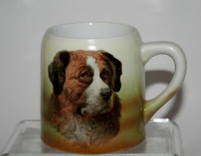 Antique German Stein, Mug with Saint Bernard Dog. 3 Crowns China Germany