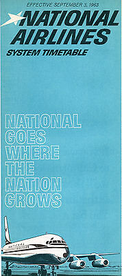 National Airlines Sept. 3, 1963 System Timetable
