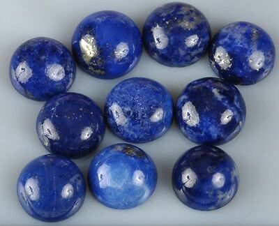 5 PIECES OF UNUSUAL 5mm ROUND CABOCHON-CUT NATURAL LAPIS LAZULI GEMSTONES £1 NR
