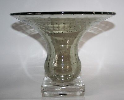 Large CARL ERICKSON / PAIRPOINT SMOKE/CHARCOAL Controlled Bubble ART GLASS Vase