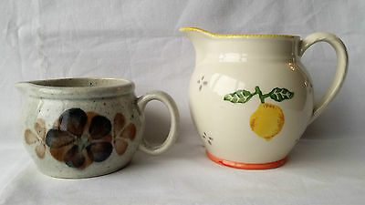 Laura Ashley Summer Fruits Jug, Hand Painted & Small Grey Floral Jug.
