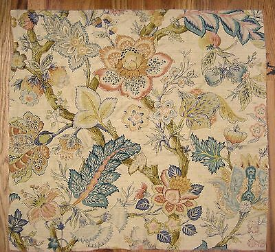 Antique Beautiful 19th C.French Tussah Silk Exotic Jacobean Printed Floral (9956