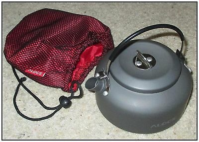 LIGHTWEIGHT CAMPING KETTLE, ANODISED ALUMINIUM. NEVER USED, WEIGHS ABOUT 140gm