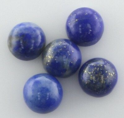 5 PIECES OF 4mm ROUND CABOCHON-CUT NATURAL CHINESE LAPIS LAZULI GEMSTONES £1 NR